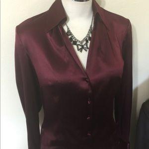 Ann Taylor Silk Wine Maroon Blouse Shirt Top 8 M